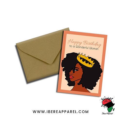 Happy Birthday to a WONDERFUL WOMAN |  Birthday Queen |  Greeting Card