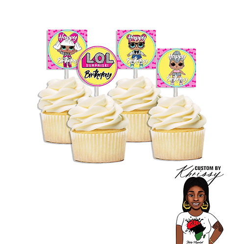 12 LOL Cupcake Toppers