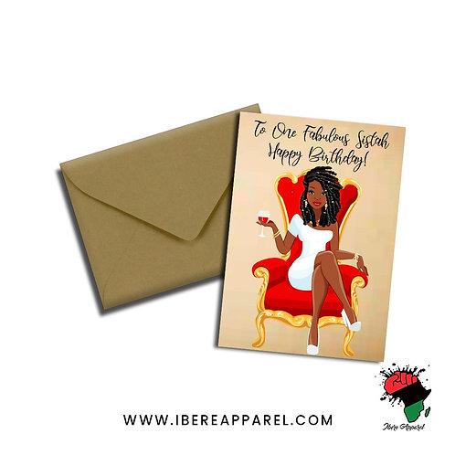 RONKE | TO ONE FABULOUS SISTAH |  HAPPY BIRTHDAY !  | Greeting Card