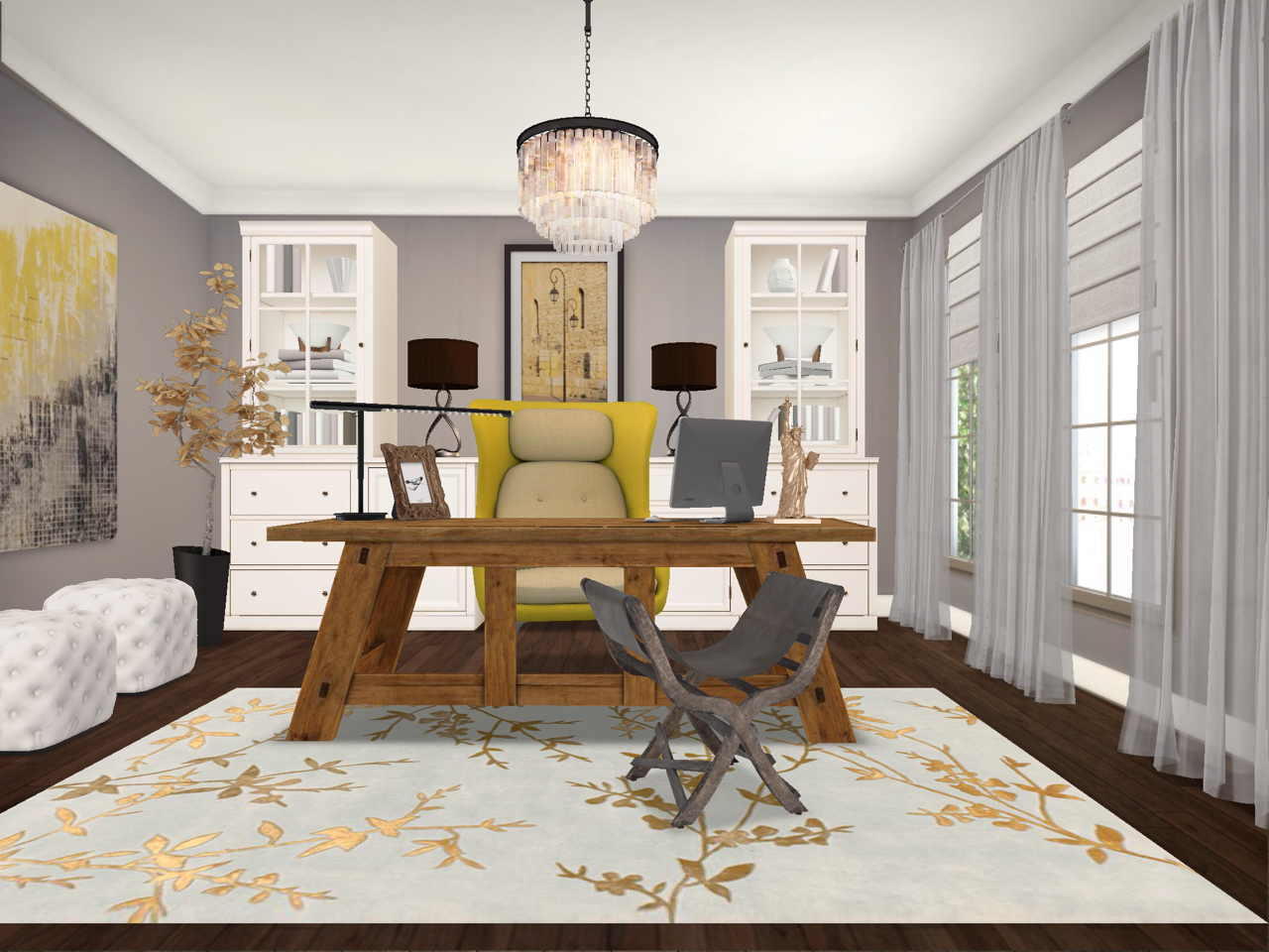 Gray & Yellow Home Office