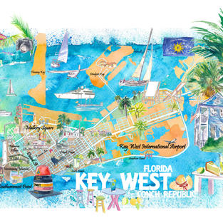 Key West Florida Illustrated Travel Map with Roads and Highlights