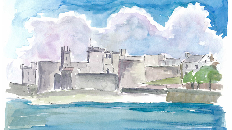 View Of Limerick Ireland with Shannon River and King Johns Castle
