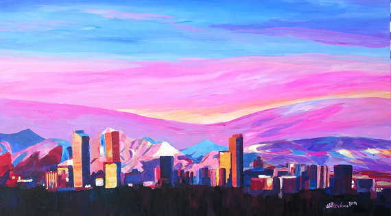 Denver Colorado Skyline with luminou
