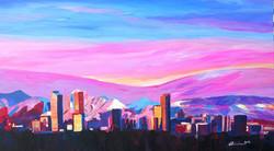 Denver Colorado Skyline with luminou