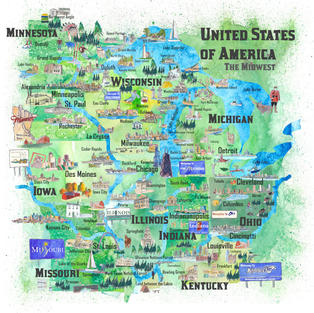 USA Midwest States Illustrated Map with Main Roads Landmarks and Highlights