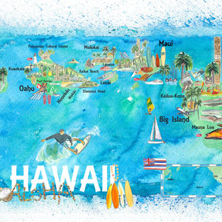 Hawaii USA Illustrated Map with Main Roads Landmarks and Highlights