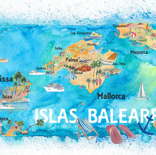 Balearic Islands Spain Illustrated Map with Main Roads Landmarks and Highlights