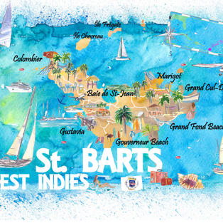 St Barts Antilles Illustrated Caribbean Travel Map with Highlights of West Indies Island Dream