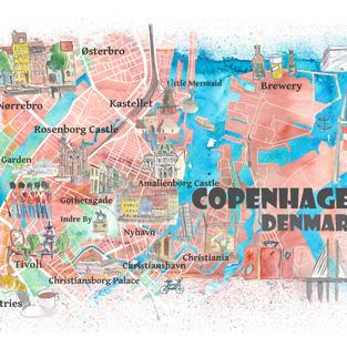 Copenhagen Denmark Illustrated Map with Main Roads Landmarks and Highlights