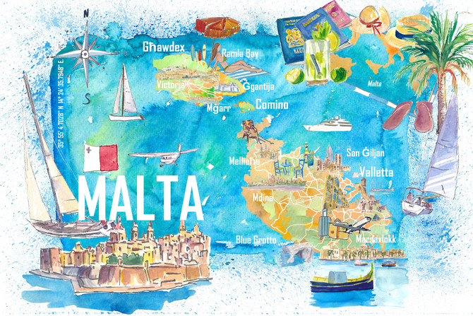 Malta Illustrated Island Travel Map with Roads and Highlights
