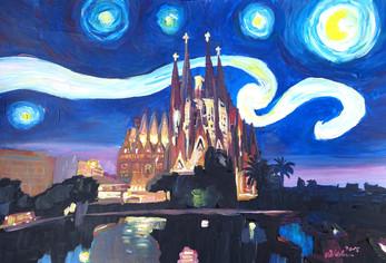 Starry Night in Barcelona - Van Gogh Inspirations with Sagrada Familiakl.JPG