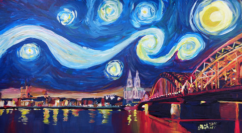 Starry Night in Cologne - Van Gogh Feeling on River Rhine and Cathedral.JPG
