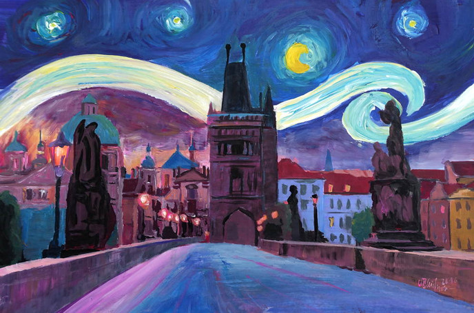 Starry Night in Prague - Van Gogh Inspirations on Charles Bridge in Czech Republickl.JPG