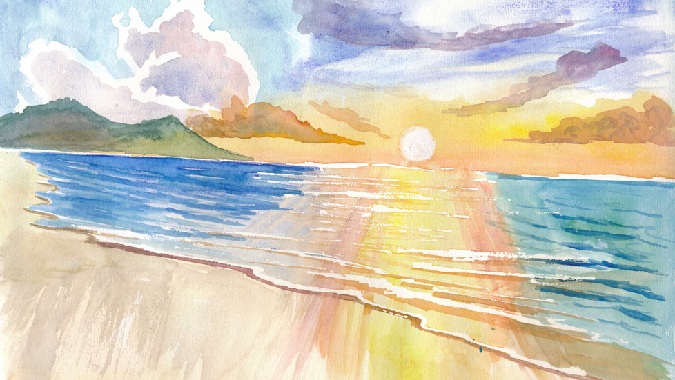 Maui Hawaii Lonely Beach Scene with Sunset