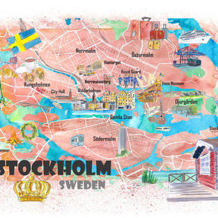 Stockholm Sweden Illustrated Map with Main Roads Landmarks and Highlights