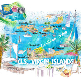 US Virgin Islands Illustrated Travel Map with Roads and Highlights