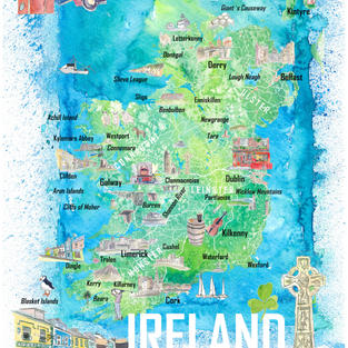 Ireland Illustrated Map with Main Roads Landmarks and Highlights