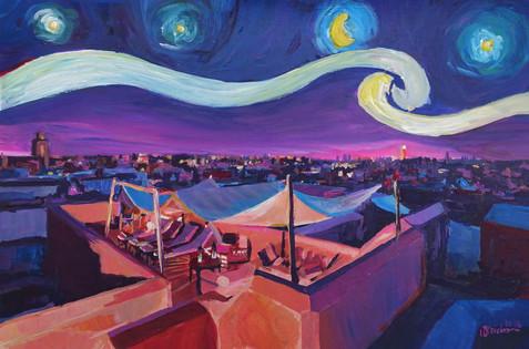 Starry Night in Marrakech - Van Gogh Inspirations on Fna Market Place in Moroccokl.JPG
