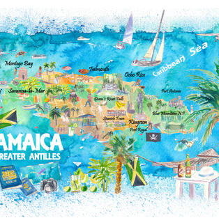 Jamaica Illustrated Travel Map with Roads and Highlights