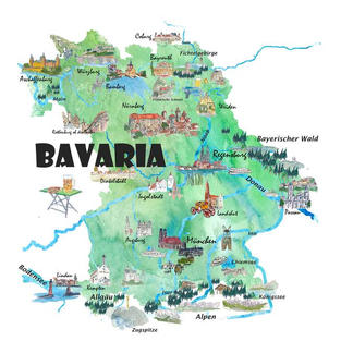 Bavaria Germany Illustrated Map with Main Roads Landmarks and Highlights