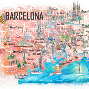 Barcelona Catalonia Spain Illustrated Map with Main Roads Landmarks and Highlights