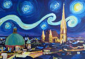 Starry Night in Vienna Austria - Saint Stephan Cathedral Van Gogh Inspirationskl.JPG