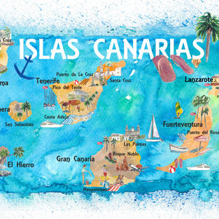 Canary Islands Spain Illustrated Map with Main Roads Landmarks and Highlights