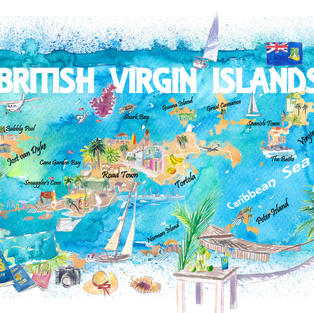 British Virgin Islands Illustrated Travel Map with Roads and Highlights