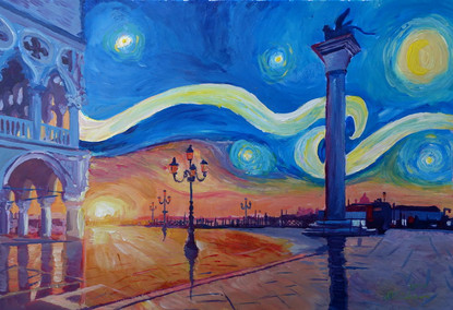 Starry Night in Venice Italy - San Marco with Lionkl.JPG