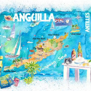Anguilla Antilles Illustrated Caribbean Travel Map with Highlights of West Indies Island Dream