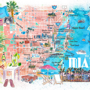 Miami Florida Illustrated Map with Main Roads Landmarks and Highlights