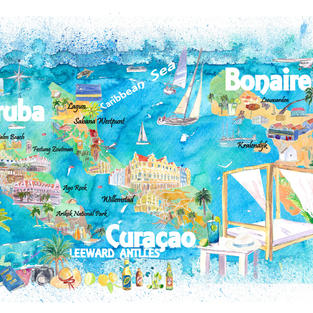 Aruba Bonaire Curacao Illustrated Islands Travel Map with Roads and Highlights