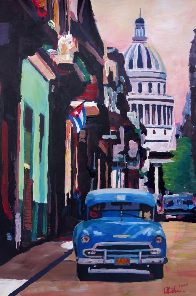 Cuban Oldtimer Street Scene in Havan