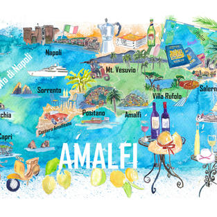 Amalfi Illustrated Travel Map With Roads