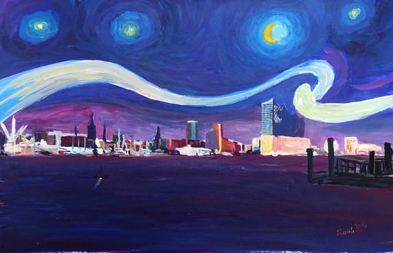 Starry Night in Hamburg - Van Gogh Inspirations in Hamburg Harbour with Elbe Philharmonic