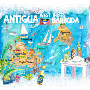 Antigua Barbuda Antilles Illustrated Caribbean Travel Map with Highlights of West Indies Island Dream