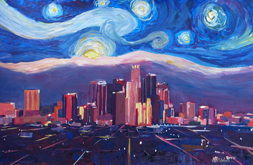 Starry Night in Los Angeles - Van Gogh Feeling with Skyline and Mountains.JPG
