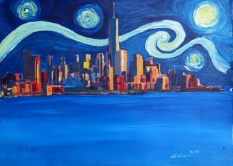 Starry Night in New York City - Freedom Tower Manhattan Van Gogh Inspirationskl.JPG