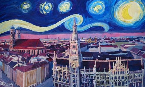 Starry_Night_In_Munich - Van Gogh Inspirations with Church of Our Lady and City Hall.JPG