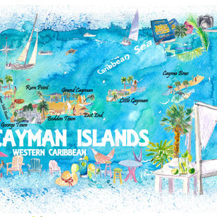 Cayman Islands Illustrated Caribbean Travel Map with Highlights of West Indies Island Dream