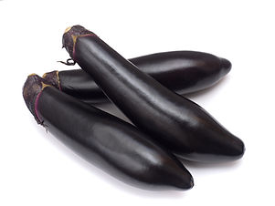 Japanese long eggplant taken in white ba