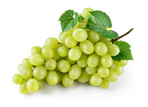 Green grape with leaves isolated on whit