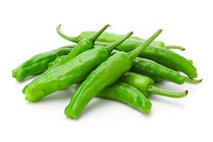 Shishito green pepper on white backgroun
