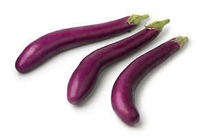 Fresh raw Japanese purple eggplants iiso