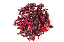 Hibiscus, a pile of red dried Hibiscus t