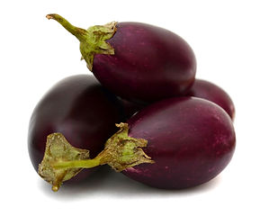 purple eggplants on white background .jp