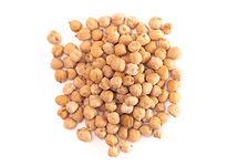 A Pile of Dry Chickpeas Isolated on a Wh