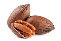 Three pecan nuts isolated on white backg