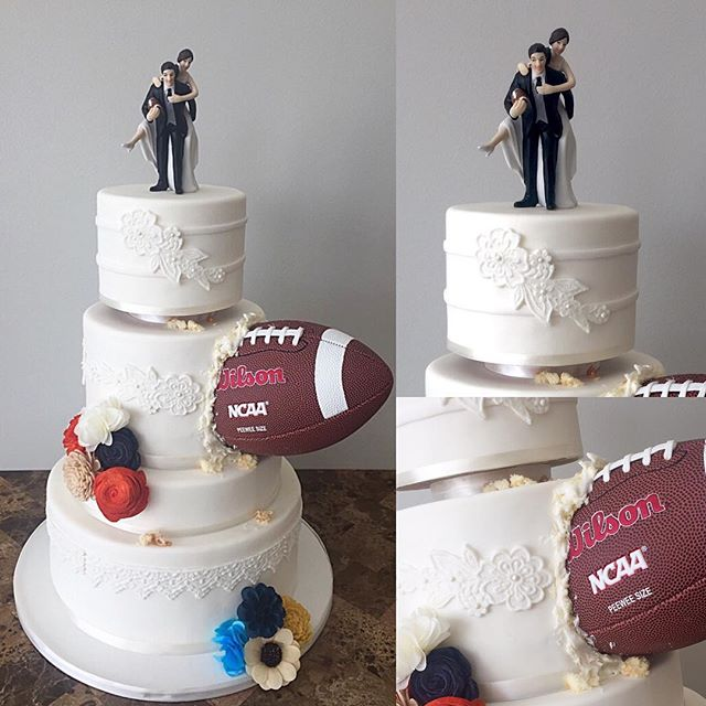 This incredible Football Wedding Cake was one of my more challenging cakes with trying to keep that
