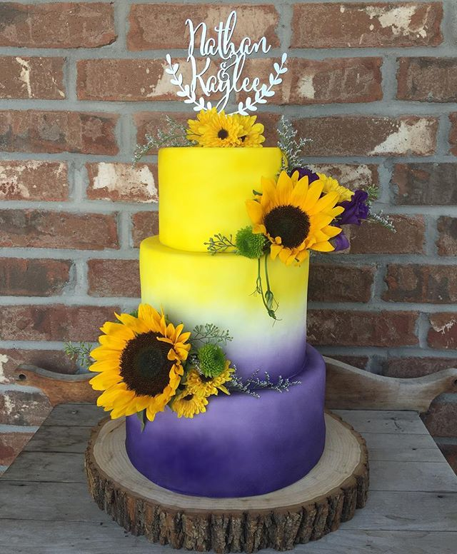 How amazing is this purple and yellow #ombre cake__ I am so thrilled with how it turned out!!! Happy